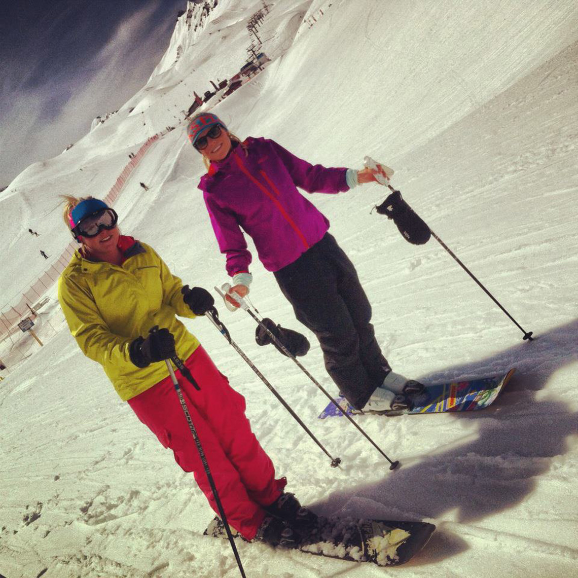 Holly R and Becky Palmer (Snowberry) rocking the Monoski!