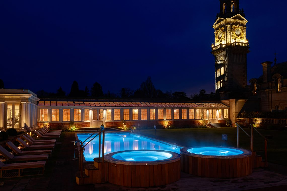 Cliveden House spa at night